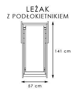 drewniany leżak z podłokietnikiem