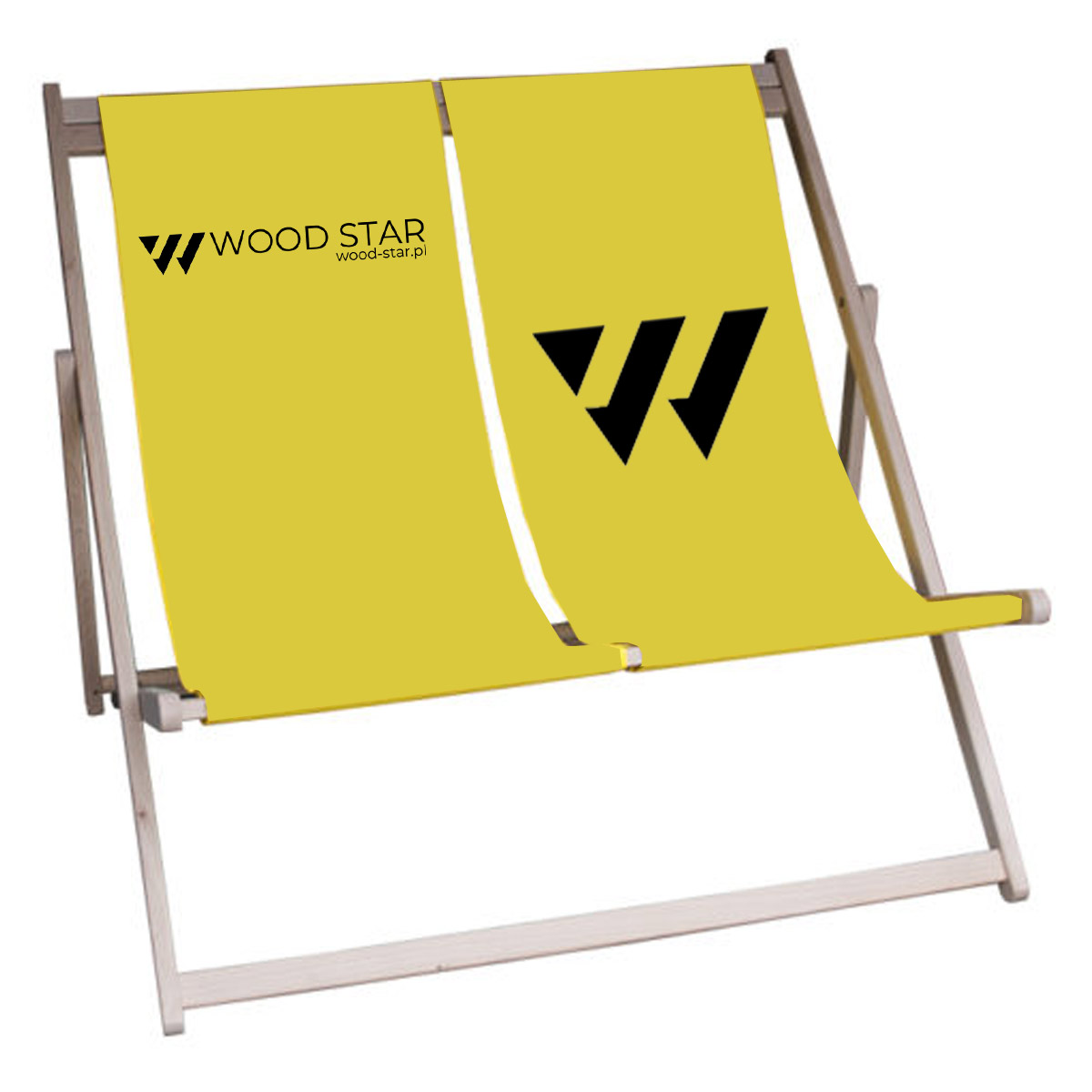 Wood sunbed with logo